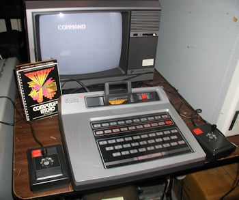 The Magnavox Odyssey2 computer video console running Computer Intro! cart
