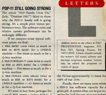 DEC PROFESSIONAL Letter to Editor PDP-11 Still Going Strong